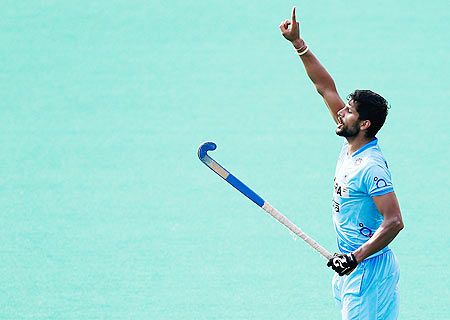 India's Rupinder Pal Singh celebrates a goal