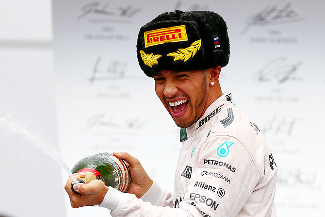 Russian GP PIX: Hamilton closes in on F1 title; Force India on podium