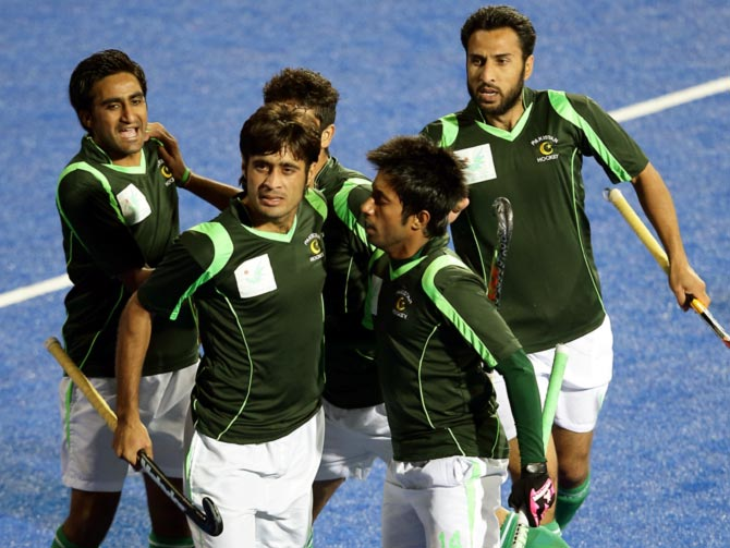 Pakistan's players during the 2014 Asian Games hockey match against India in Incheon