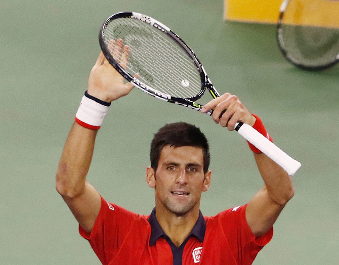 Novak Djokovic of Serbia reacts after winning the match against Andy Murray of Great Britain in his semi-final in Shanghai