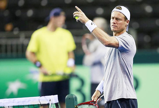 Australia's Lleyton Hewitt during a practice session