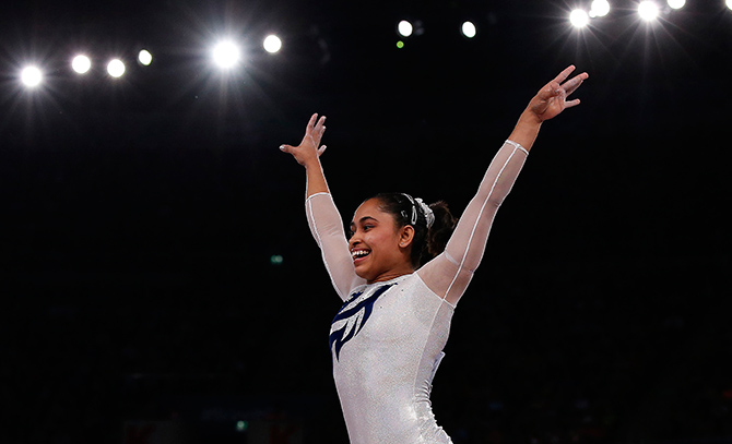 Dipa Karmakar scored 14.100 to finish at the 6th place out of 16 gymnasts in the qualification