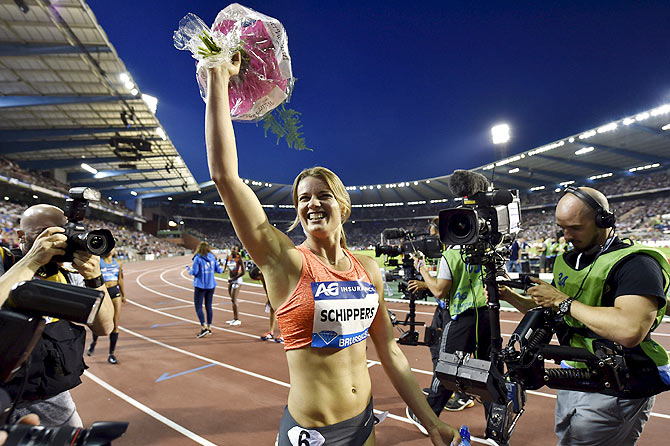 Dafne Schippers of Netherland reacts after winning the women's 200 metres during the IAAF Diamond League athletics meeting, also known as Memorial Van Damme, in Brussels on Friday