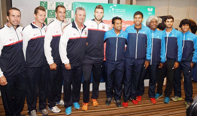 The Czech Republic and India Davis Cup teams