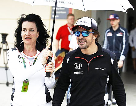 McLaren Honda Formula One driver Fernando Alonso of Spain (right) after the drivers' press conference
