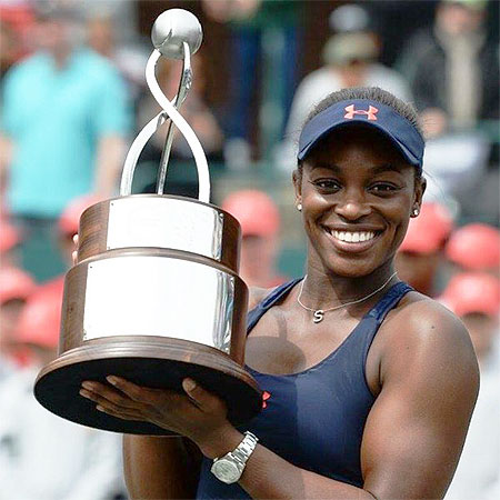 American Sloane Stephens after winning the Charleston title on Sunday