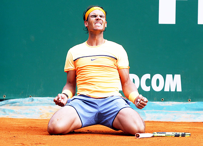 Rafael Nadal reacts after winning the Monte Carlo Masters final