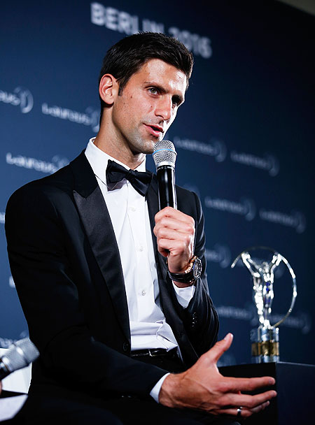 Novak Djokovic speaks at a press briefing after accepting his award