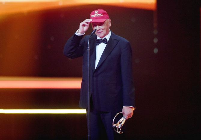 Niki Lauda receiving the Laureus Lifetime Achievement Award in 2016