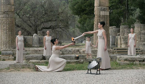 The Olympic flame lighting ceremony is held at the Ancient Olympia in Greece on Thursday