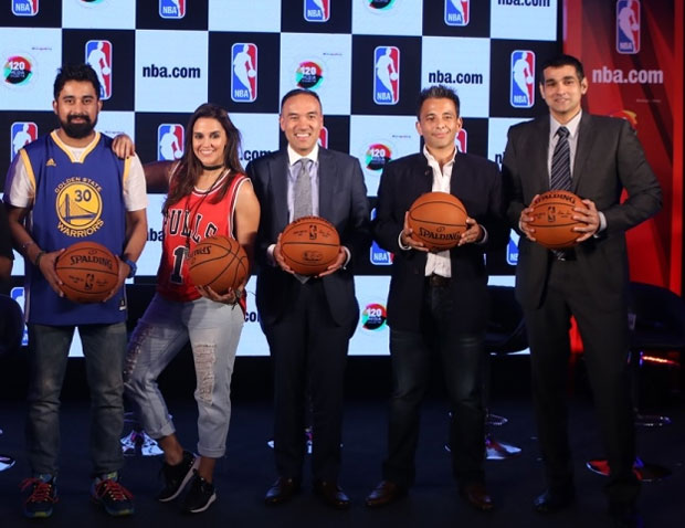 VJ Ranvijay Singh, Actor Neha Dhupia, NBA Deputy Commissioner Mark Tatum, The 120 Media Collective Founder & CEO Roopak Saluja and NBA India Managing Director Yannick Colaco at the NBA.com launch in Mumbai on Wednesday