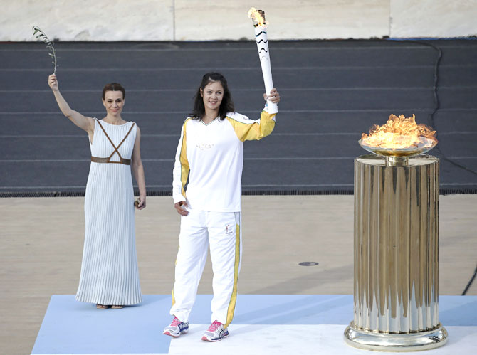 bb71207ac8dd Host nation Brazil receives Olympic flame for Rio Games - Rediff.com ...