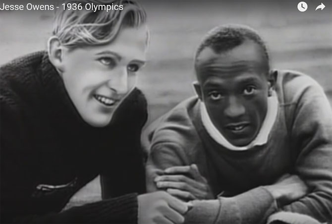 A video grab of Jesse Owens of the USA and Luz Long