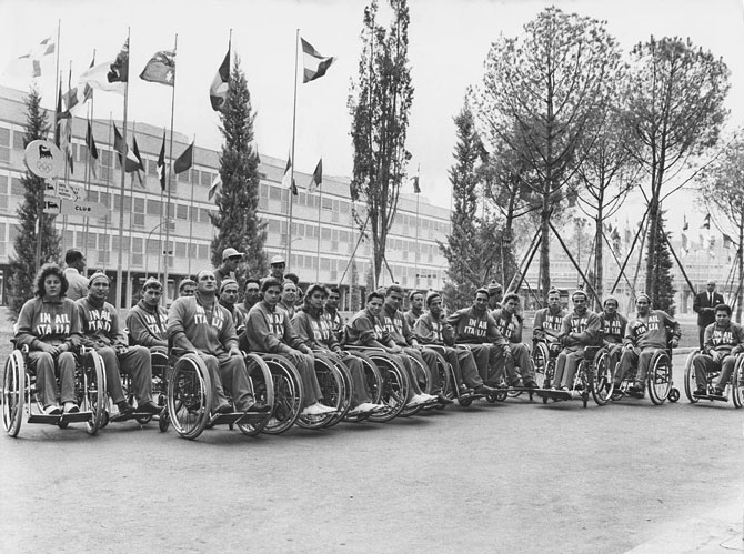 The Italian team at the Olympic village before the start of the first international Paralympic Games, Rome, 16th September 1960