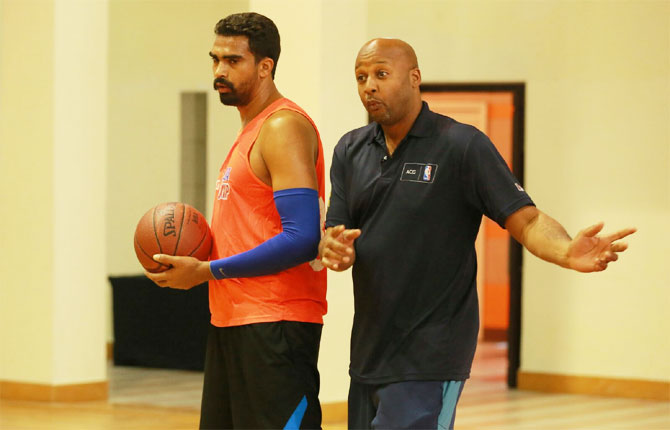 Multi NBA champion Brian Shaw trains Palpreet Singh at the AGC-NBA national camp in February this year