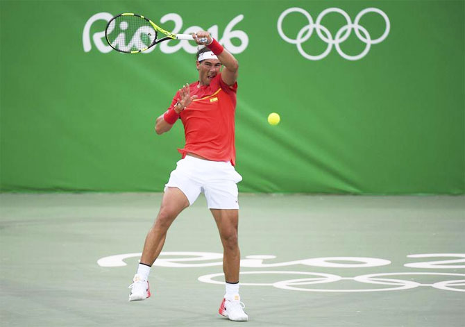 Spain's Rafael Nadal in action against Argentina's Federico Delbonis in their first round match on Sunday