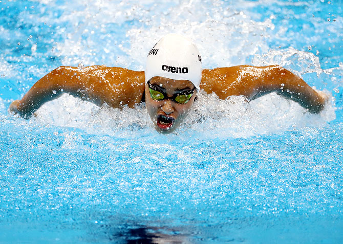 Yusra Mardini of the Refugee Olympic Team competes in heat one of the women's 100m Butterfly on Day 1 of the Rio 2016 Olympic Games