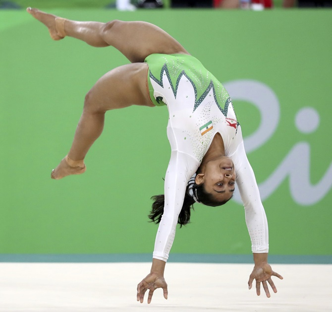 India's Dipa Karmakar competes on the vault during the artistic gymnastics preliminary women's qualifications, subdivisions, at the Rio 2016 Summer Olympics at the Rio Olympic Arena