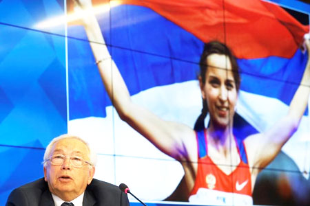 Vladimir Lukin, president of the Russian Paralympic Committee, speaks during a news conference on Monday after Russia was barred from taking part in next month's Rio Paralympics