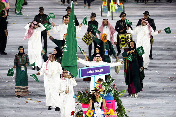 Flag bearer Sulaiman Hamad of Saudi Arabia leads his team during the Opening Ceremony of the Rio 2016 Olympic Games at Maracana Stadium on August 5, 2016 in Rio de Janeiro, Brazil