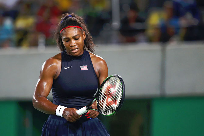 Serena Williams of the United States reacts during her women's singles third round match against Elina Svitolina of Ukraine of the Rio 2016 Olympic Games at the Olympic Tennis Centre in Rio de Janeiro on August 9