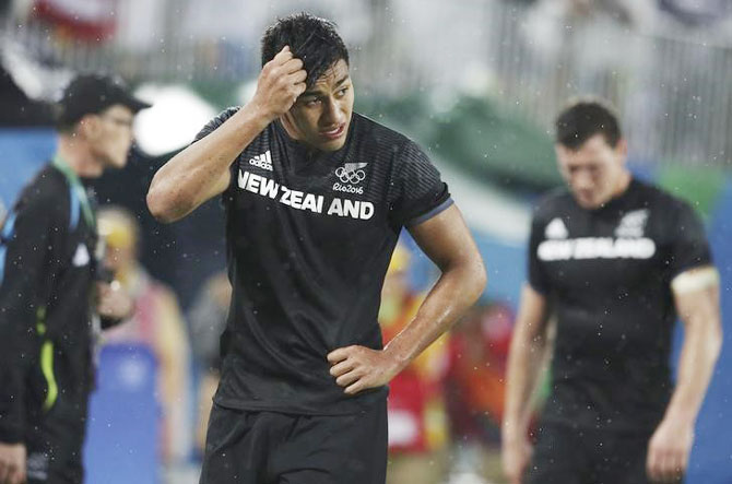 New Zealand's Rieko Ioane reacts after their loss to Fiji in the Rugby men's quarter-final at the Deodoro Stadium in Rio de Janeiro on Wednesday