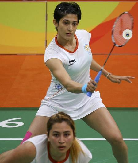 Jwala Gutta, front, and Ashwini Poonappa in action against the Dutch pair of Eefje Muskens and Selena Piek at the Rio Olympics.