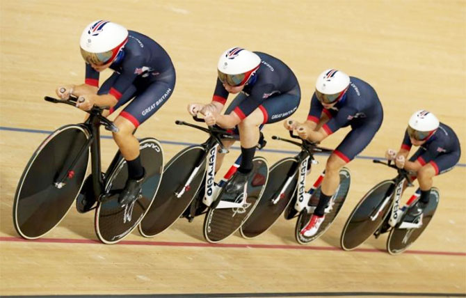 Britain's Kate Archibald, Laura Trott, Elinor Barker and Joanna Rowsell compete in the Women's Team Pursuit cycling final gold race on Saturday