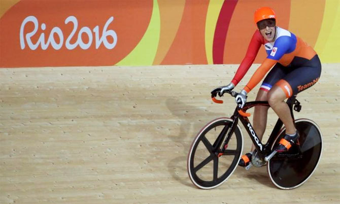 The Netherlands' Elis Ligtlee reacts after winning gold in the Women's Keirin final at the cycling track at the Rio Olympic Velodrome on Saturday