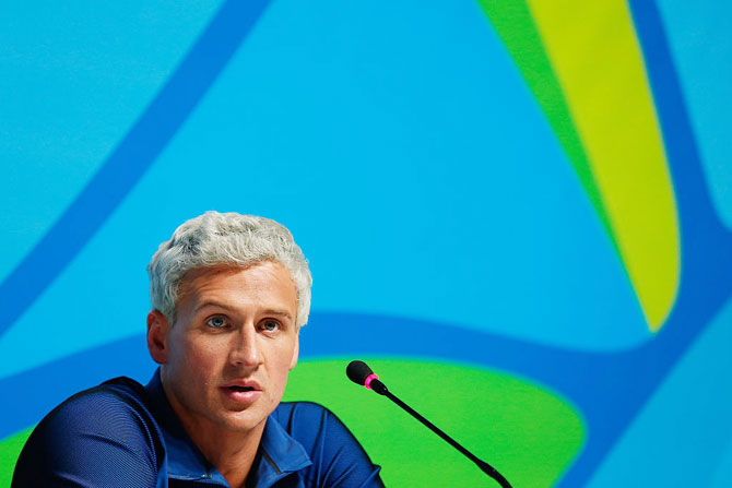 Ryan Lochte of the United States addresses a press conference