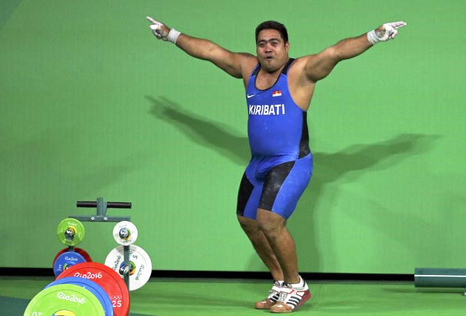 David Katoatau of Kiribati dances off the weightlifting platform after his effort in the Men's 105kg final at the Rio Games on August 15