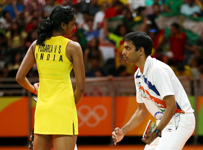P V Sindhu with coach P Gopichand