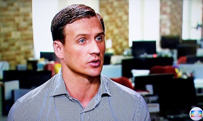 In this still image from video Olympic gold medallist swimmer Ryan Lochte of the U.S. gives an interview to Globo TV at their studios in New York City on Saturday