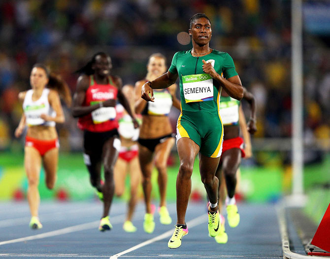 Caster Semenya of South Africa leads the field during the Women's 800 meter final