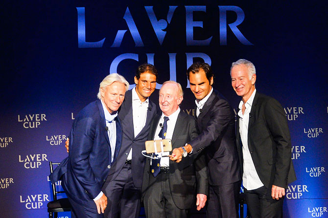 (Left to right) Bjorn Borg, Rafael Nadal, Rod Laver, Roger Federer and John McEnroe pose for a photo during a Laver Cup media announcement St Regis Hotel in New York City on Wednesday