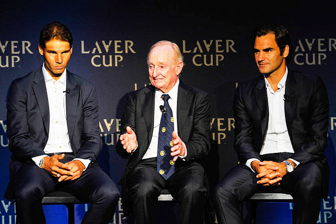 Rafael Nadal, Rod Laver and Roger Federer speak during the Laver Cup media announcement