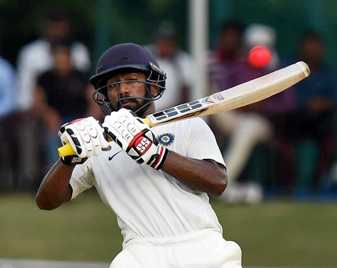 Abhinav Mukund in action during the day-night Duleep Trophy game