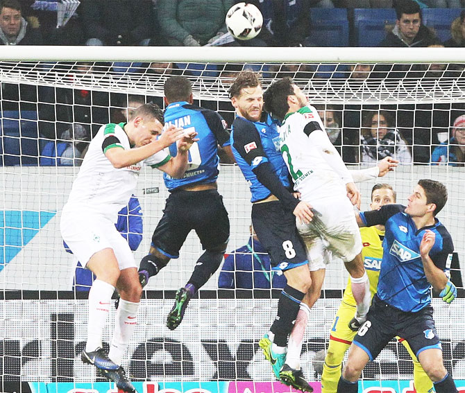Action from the match between Hoffenheim and Werder Bremen on Wednesday