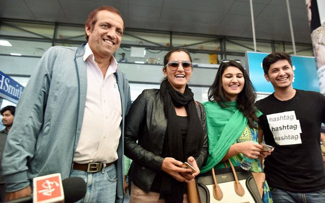 Sania Mirza along with her father Imran Mirza and sister Anam