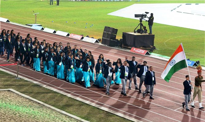 The Indian contingent marching past at the opening ceremony