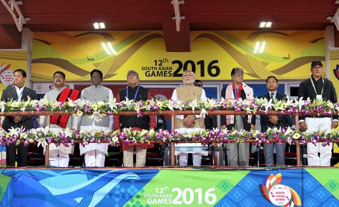 Prime Minister Narendra Modi at the opening ceremony of 12th South Asian Games in Guwahati