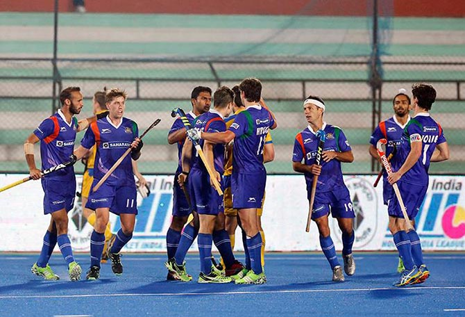 UP Wizards celebrate a goal against Jaypee Punjab Warriors