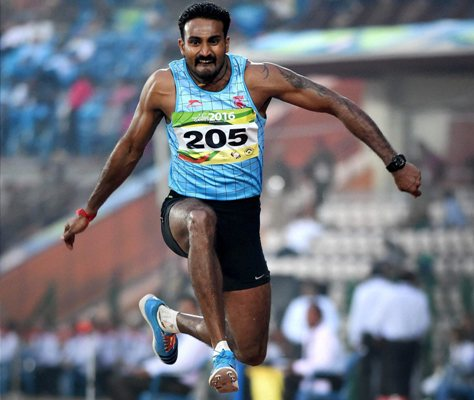 India's Ranjith Maheshwari won the gold in the men's triple jump