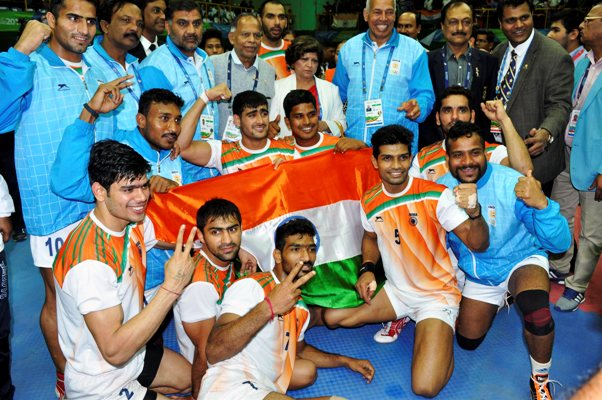 Indian men's Kabaddi team celebrate
