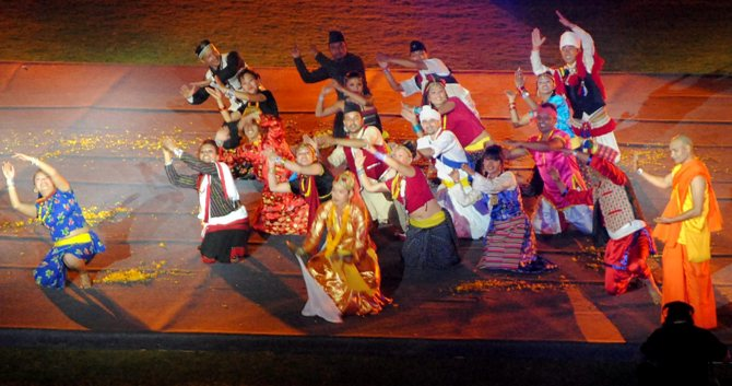 Artistes from Nepal perform at the closing ceremony of the 12th South Asian Games