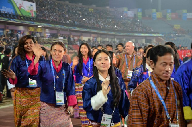 The Bhutan contingent at the closing ceremony