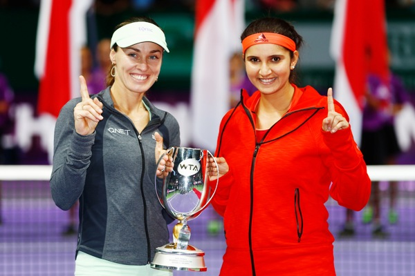 Martina Hingis of Switzerland and Sania Mirza of India