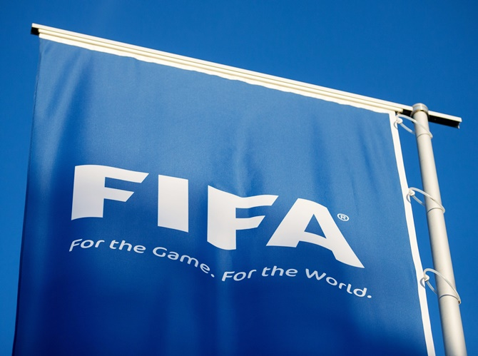 A FIFA logo sits on a flag at the FIFA headquarters