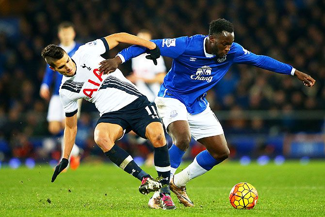 Everton's Romelu Lukaku holds off Tottenham Hotspur's Erik Lamela during their Barclays English Premier League match at Goodison Park in Liverpool on Sunday