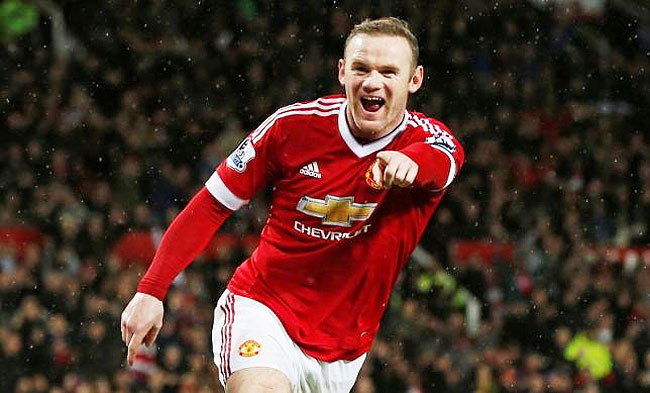 Manchester United's Wayne Rooney celebrates after scoring the second goal against Swansea during their English Premier League match at Old Trafford on Sunday